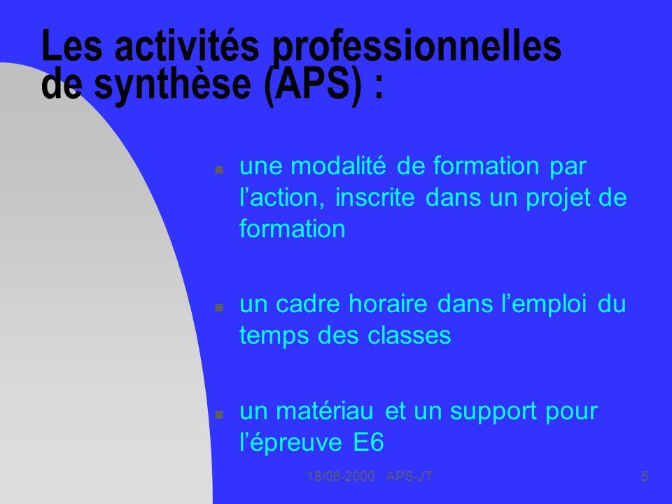18/06-2000 APS-JT5 Les activités professionnelles de synthèse (APS) : n une modalité de formation par laction, inscrite dans un projet de formation n un cadre horaire dans lemploi du temps des classes n un matériau et un support pour lépreuve E6