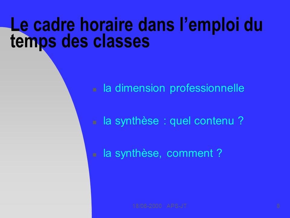 18/06-2000 APS-JT8 Le cadre horaire dans lemploi du temps des classes n la dimension professionnelle n la synthèse : quel contenu ? n la synthèse, com