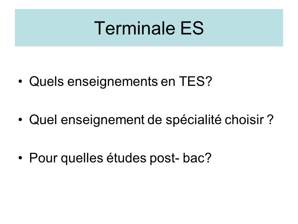 Terminale ES Quels enseignements en TES? Quel enseignement de spécialité choisir ? Pour quelles études post- bac?