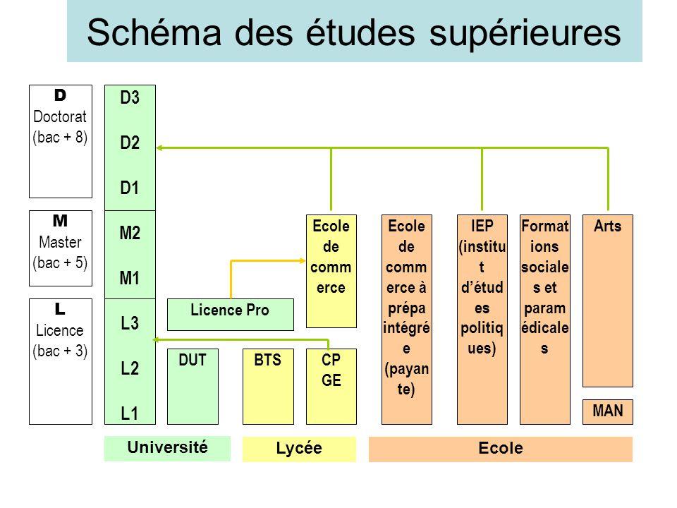 Schéma des études supérieures D Doctorat (bac + 8) M Master (bac + 5) L Licence (bac + 3) D3 D2 D1 M2 M1 L3 L2 L1 Université DUTBTS Licence Pro CP GE