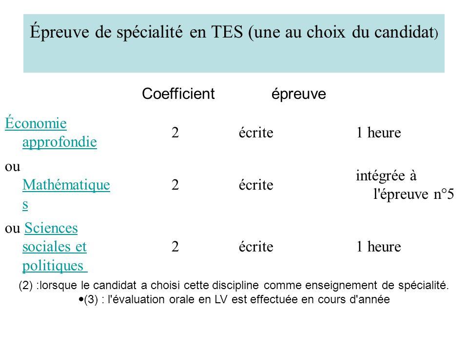Épreuve de spécialité en TES (une au choix du candidat ) Coefficient épreuve Économie approfondie 2écrite1 heure ou Mathématique s Mathématique s 2écr