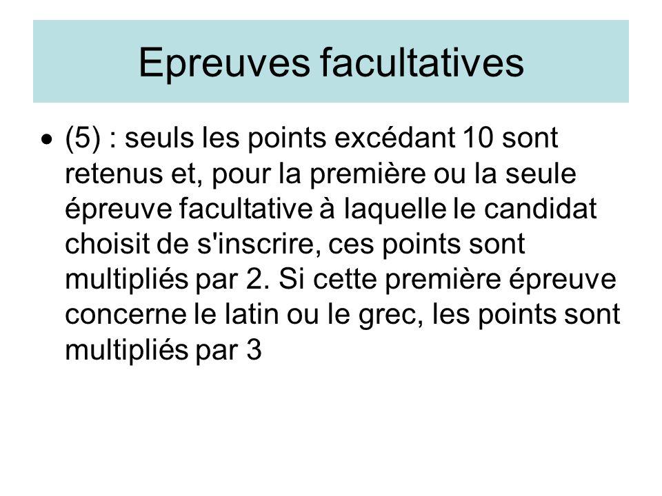 Epreuves facultatives (5) : seuls les points excédant 10 sont retenus et, pour la première ou la seule épreuve facultative à laquelle le candidat choi