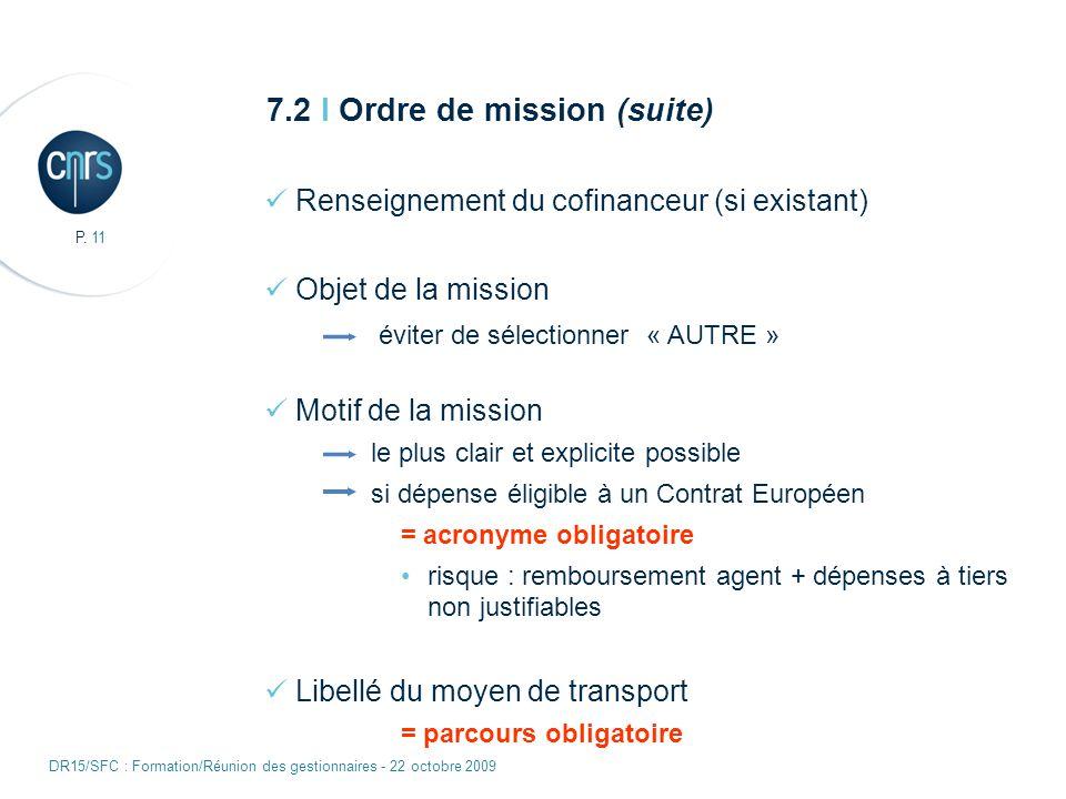 P. 11 DR15/SFC : Formation/Réunion des gestionnaires - 22 octobre 2009 7.2 I Ordre de mission (suite) Renseignement du cofinanceur (si existant) Objet