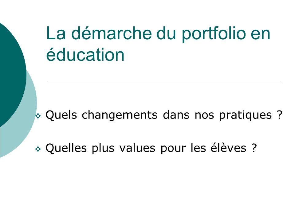 La démarche du portfolio en éducation Quels changements dans nos pratiques ? Quelles plus values pour les élèves ?