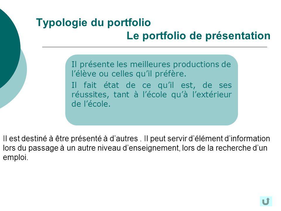 Typologie du portfolio Le portfolio de présentation Il présente les meilleures productions de lélève ou celles quil préfère. Il fait état de ce quil e