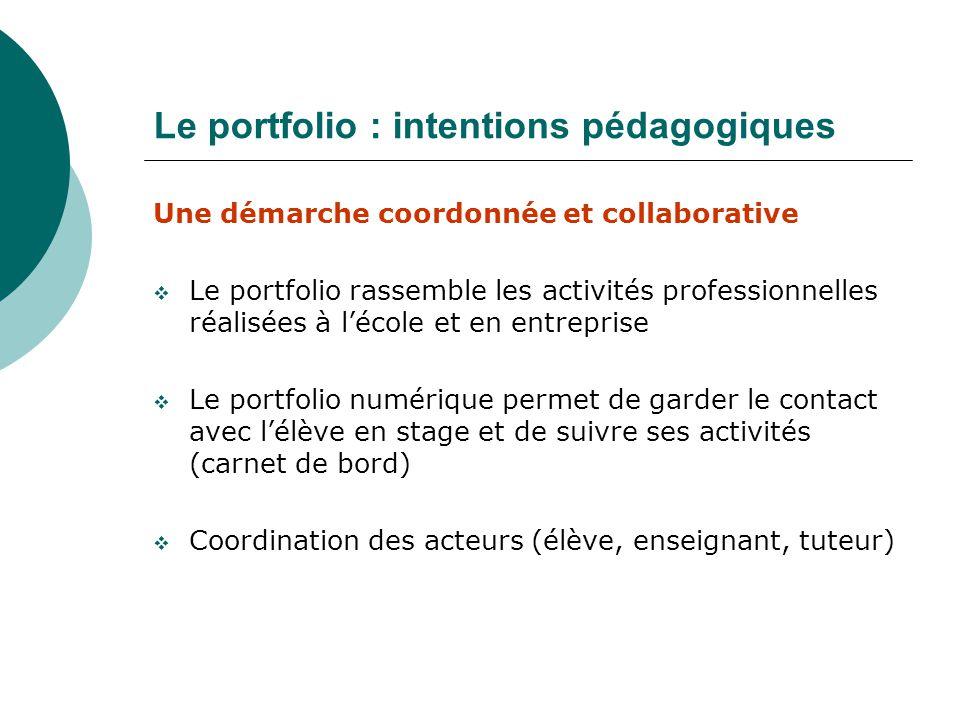 Une démarche coordonnée et collaborative Le portfolio rassemble les activités professionnelles réalisées à lécole et en entreprise Le portfolio numéri
