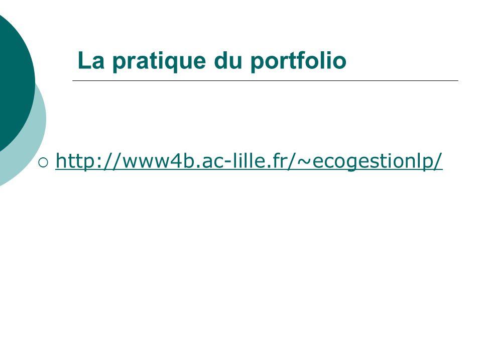 La pratique du portfolio http://www4b.ac-lille.fr/~ecogestionlp/