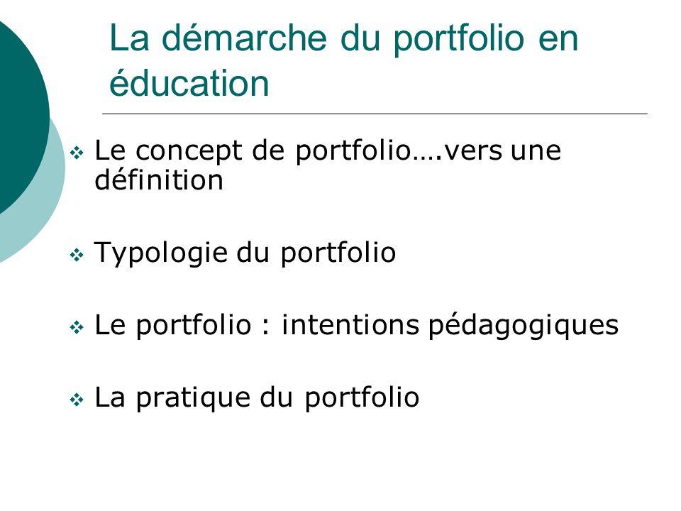 La démarche du portfolio en éducation Le concept de portfolio….vers une définition Typologie du portfolio Le portfolio : intentions pédagogiques La pr