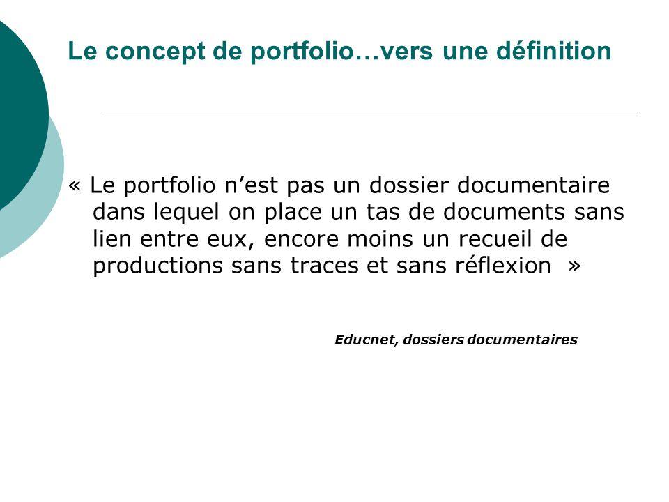 « Le portfolio nest pas un dossier documentaire dans lequel on place un tas de documents sans lien entre eux, encore moins un recueil de productions s