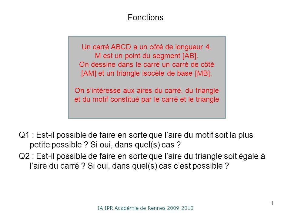 IA IPR Académie de Rennes 2009-2010 Fonctions Q1 : Est-il possible de faire en sorte que laire du motif soit la plus petite possible ? Si oui, dans qu
