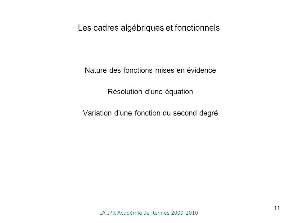 IA IPR Académie de Rennes 2009-2010 Les cadres algébriques et fonctionnels Nature des fonctions mises en évidence Résolution dune équation Variation d