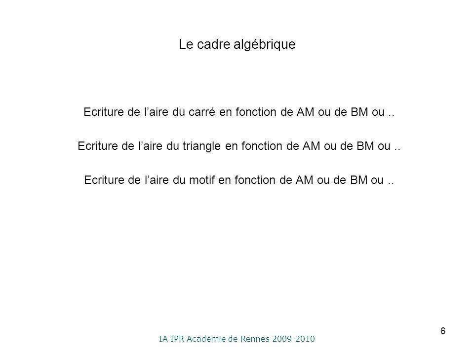 IA IPR Académie de Rennes 2009-2010 Le cadre algébrique Ecriture de laire du carré en fonction de AM ou de BM ou.. Ecriture de laire du triangle en fo