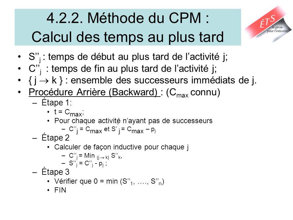 4.2.3. Calcul des marges et du Chemin Critique