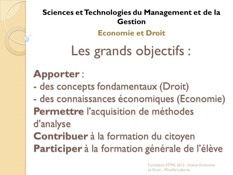Les grands objectifs : Apporter : - des concepts fondamentaux (Droit) - des connaissances économiques (Economie) Permettre lacquisition de méthodes da
