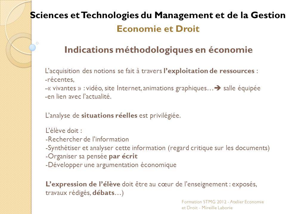Sciences et Technologies du Management et de la Gestion Economie et Droit Indications méthodologiques en économie Lélève doit : -Rechercher de linform