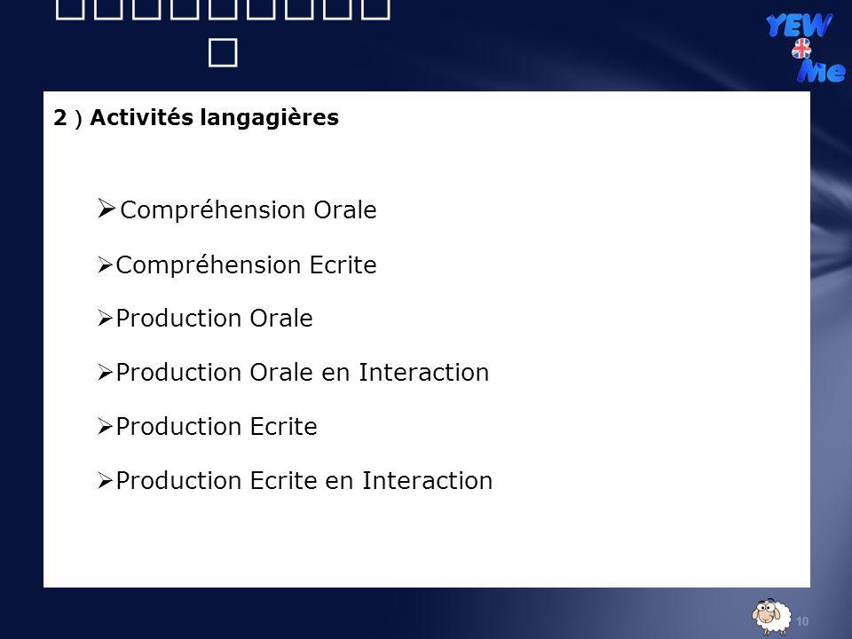 10 2 Activités langagières Compréhension Orale Compréhension Ecrite Production Orale Production Orale en Interaction Production Ecrite Production Ecrite en Interaction II ) Volet didactiqu e
