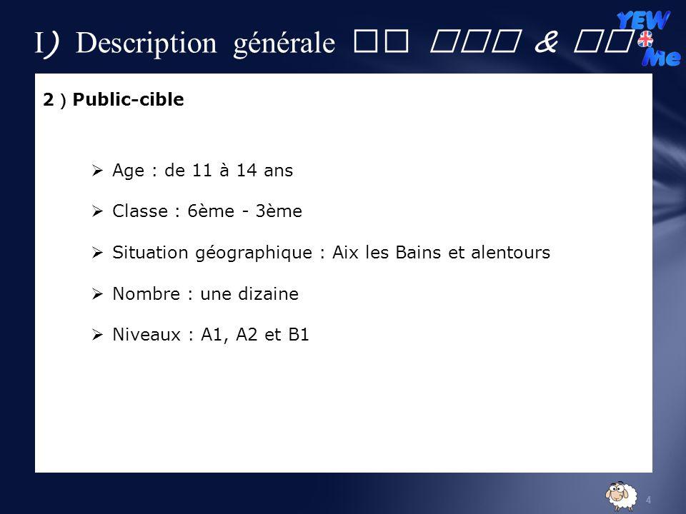4 2 Public-cible Age : de 11 à 14 ans Classe : 6ème - 3ème Situation géographique : Aix les Bains et alentours Nombre : une dizaine Niveaux : A1, A2 et B1 I ) Description générale de YEW & Me