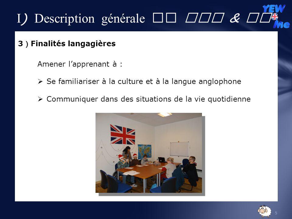 5 3 Finalités langagières Amener lapprenant à : Se familiariser à la culture et à la langue anglophone Communiquer dans des situations de la vie quotidienne