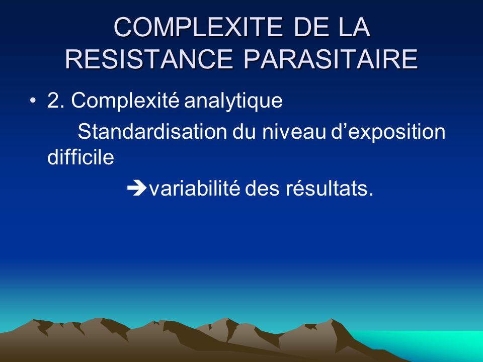 COMPLEXITE DE LA RESISTANCE PARASITAIRE 2. Complexité analytique Standardisation du niveau dexposition difficile variabilité des résultats.