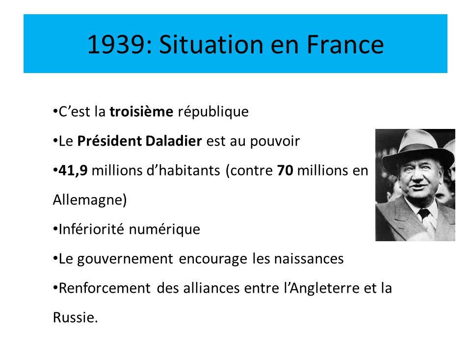 1939: Situation en France Cest la troisième république Le Président Daladier est au pouvoir 41,9 millions dhabitants (contre 70 millions en Allemagne)