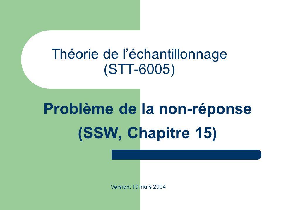 STT-6005; Théorie de l échantillonnage; Hiver 2004 12 Autre exemples dimputation Hot Deck: On choisit au hasard une valeur déjà obtenue pour remplir les trous.