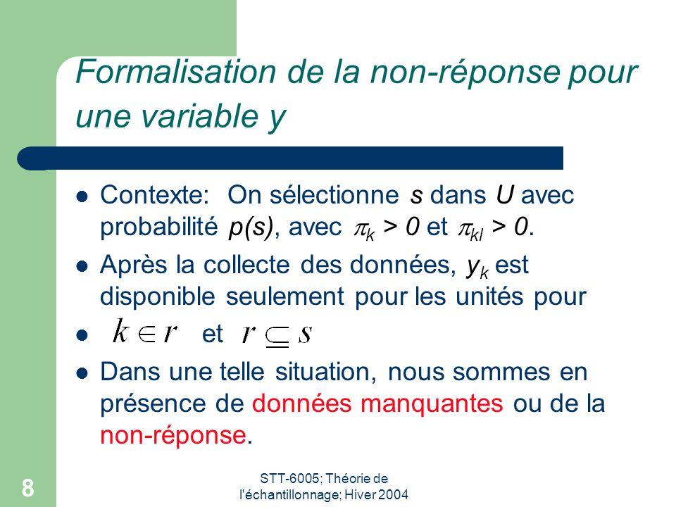 STT-6005; Théorie de l'échantillonnage; Hiver 2004 8 Formalisation de la non-réponse pour une variable y Contexte: On sélectionne s dans U avec probab