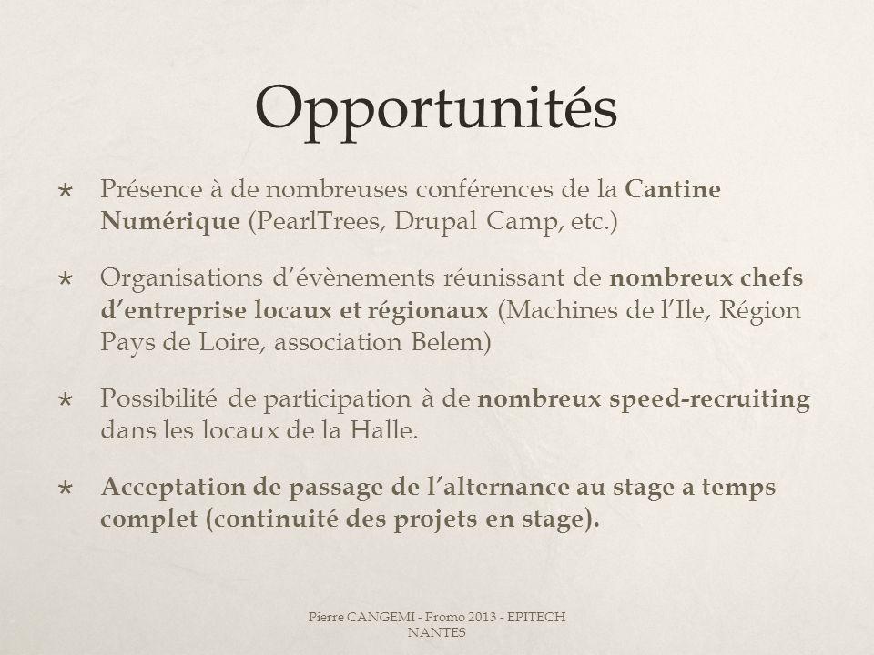 Opportunités Présence à de nombreuses conférences de la Cantine Numérique (PearlTrees, Drupal Camp, etc.) Organisations dévènements réunissant de nomb