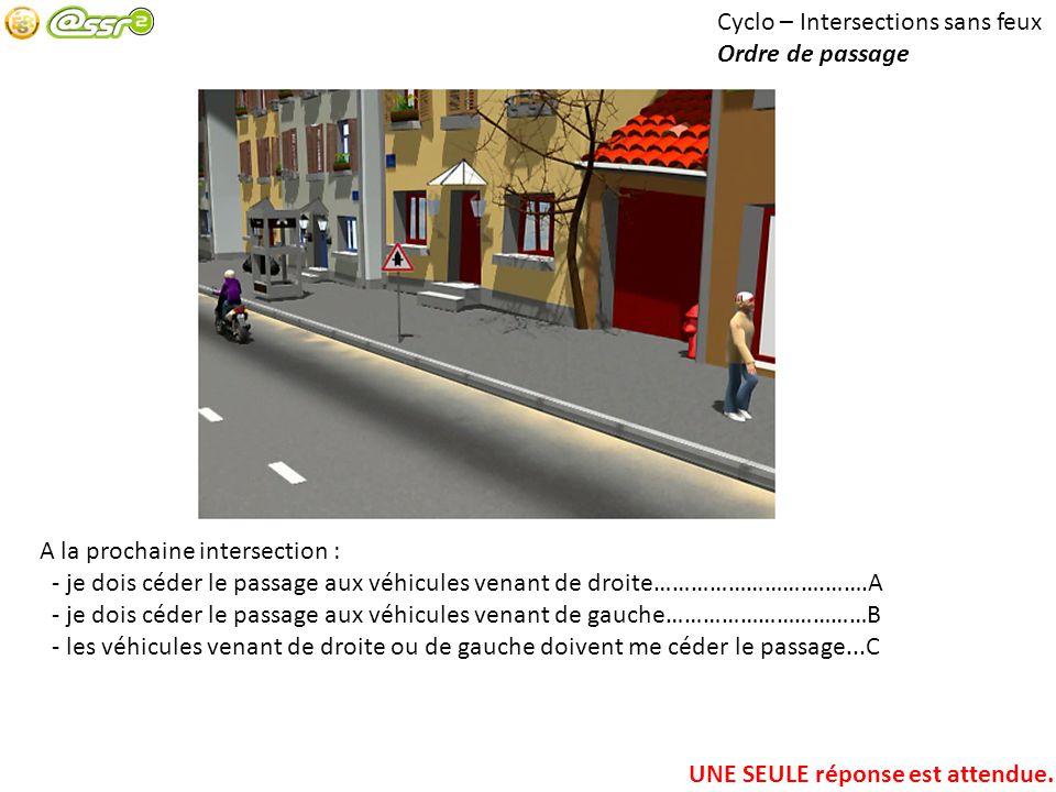 Cyclo – Intersections sans feux Ordre de passage A la prochaine intersection : - je dois céder le passage aux véhicules venant de droite……………………….…….A