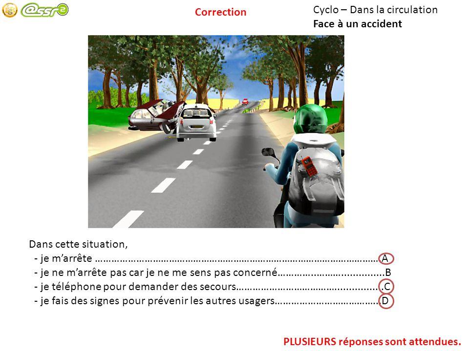 Cyclo – Dans la circulation Face à un accident Dans cette situation, - je marrête …………………………………………………………………………………………….A - je ne marrête pas car je ne