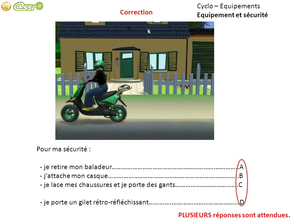 Cyclo – Equipements Equipement et sécurité Pour ma sécurité : - je retire mon baladeur…………………………………………………….…………..A - j'attache mon casque…………………………………