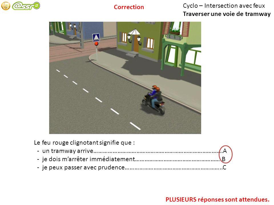 Cyclo – Intersection avec feux Traverser une voie de tramway Le feu rouge clignotant signifie que : - un tramway arrive……………………………………………………………………….A -