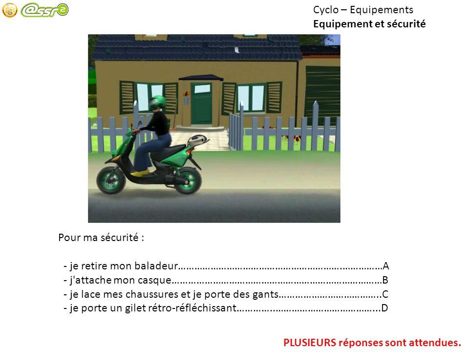 Cyclo – Equipements Equipement et sécurité Pour ma sécurité : - je retire mon baladeur…………………………………………………….……………A - j'attache mon casque……………………………………
