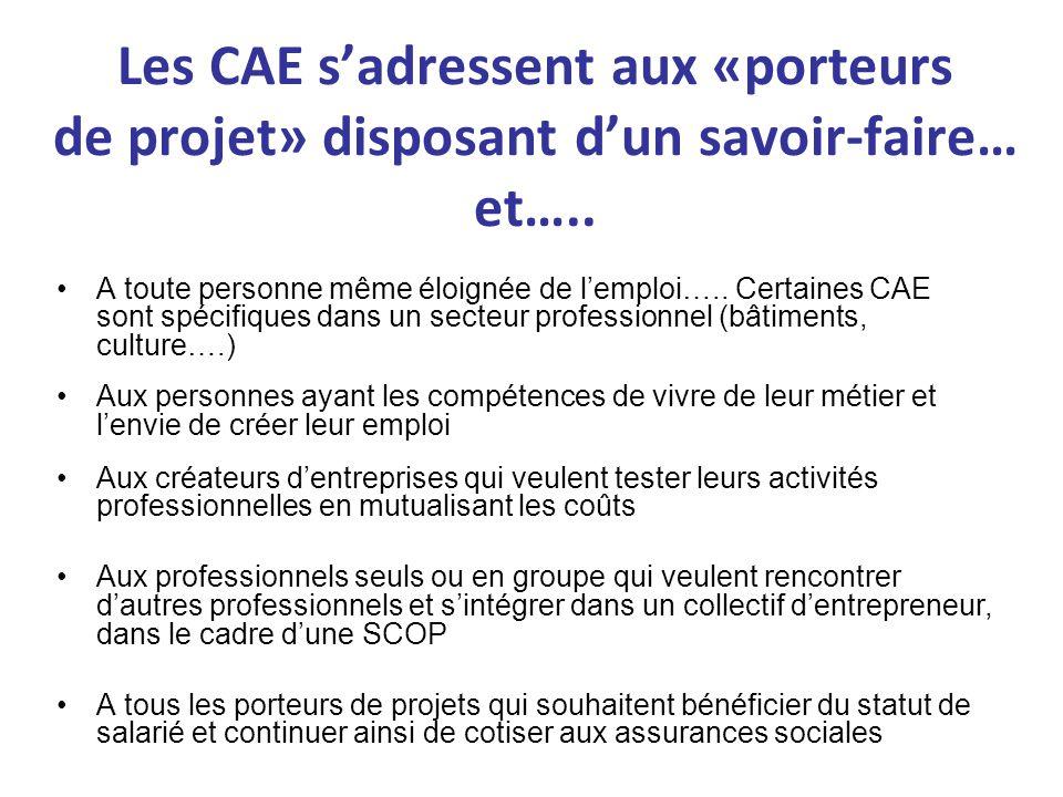 Les CAE sadressent aux «porteurs de projet» disposant dun savoir-faire… et….. A toute personne même éloignée de lemploi….. Certaines CAE sont spécifiq