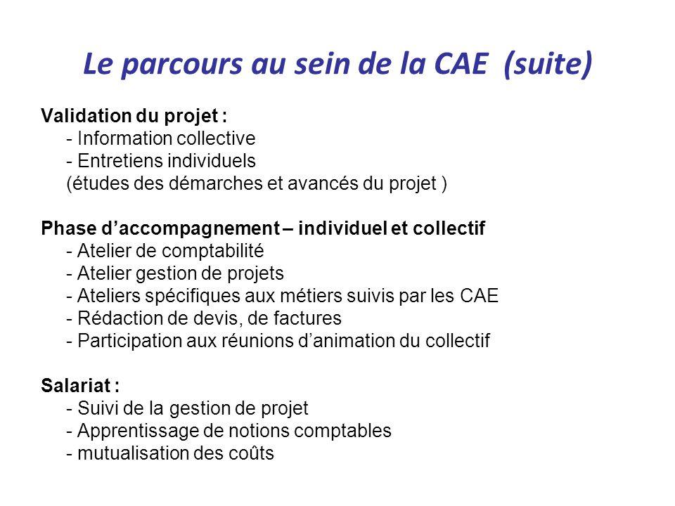 Le parcours au sein de la CAE (suite) Validation du projet : - Information collective - Entretiens individuels (études des démarches et avancés du pro