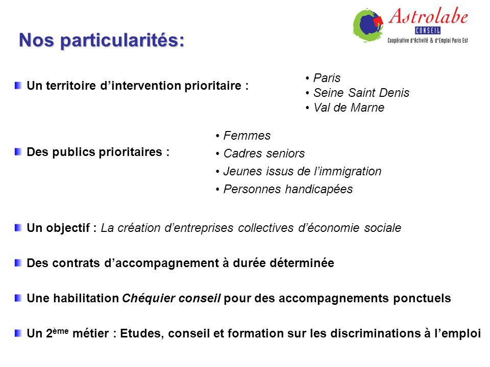 Nos particularités: Un territoire dintervention prioritaire : Des publics prioritaires : Paris Seine Saint Denis Val de Marne Femmes Cadres seniors Je