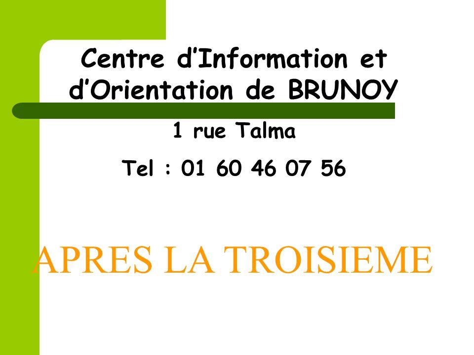 APRES LA TROISIEME Centre dInformation et dOrientation de BRUNOY 1 rue Talma Tel : 01 60 46 07 56