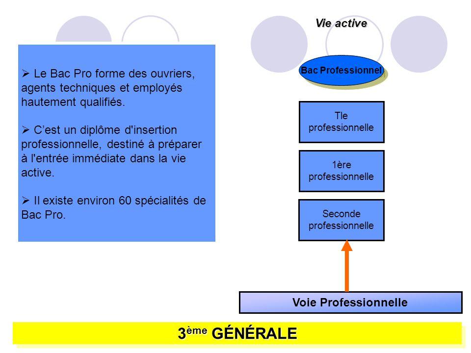 3 ème GÉNÉRALE Voie Professionnelle Seconde professionnelle 1ère professionnelle Tle professionnelle Vie active Bac Professionnel Le Bac Pro forme des