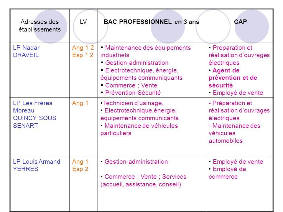Adresses des établissements LVBAC PROFESSIONNEL en 3 ans CAP LP Nadar DRAVEIL Ang 1 2 Esp 1 2 Maintenance des équipements industriels Gestion-administ