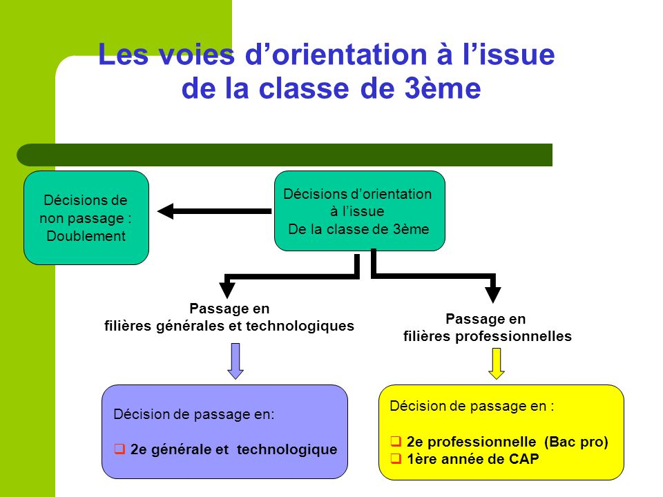Décisions dorientation à lissue De la classe de 3ème Passage en filières générales et technologiques Passage en filières professionnelles Décision de