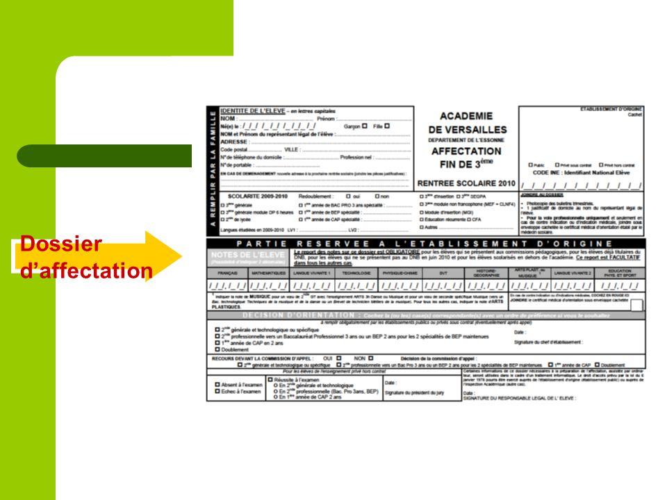 Dossier daffectation