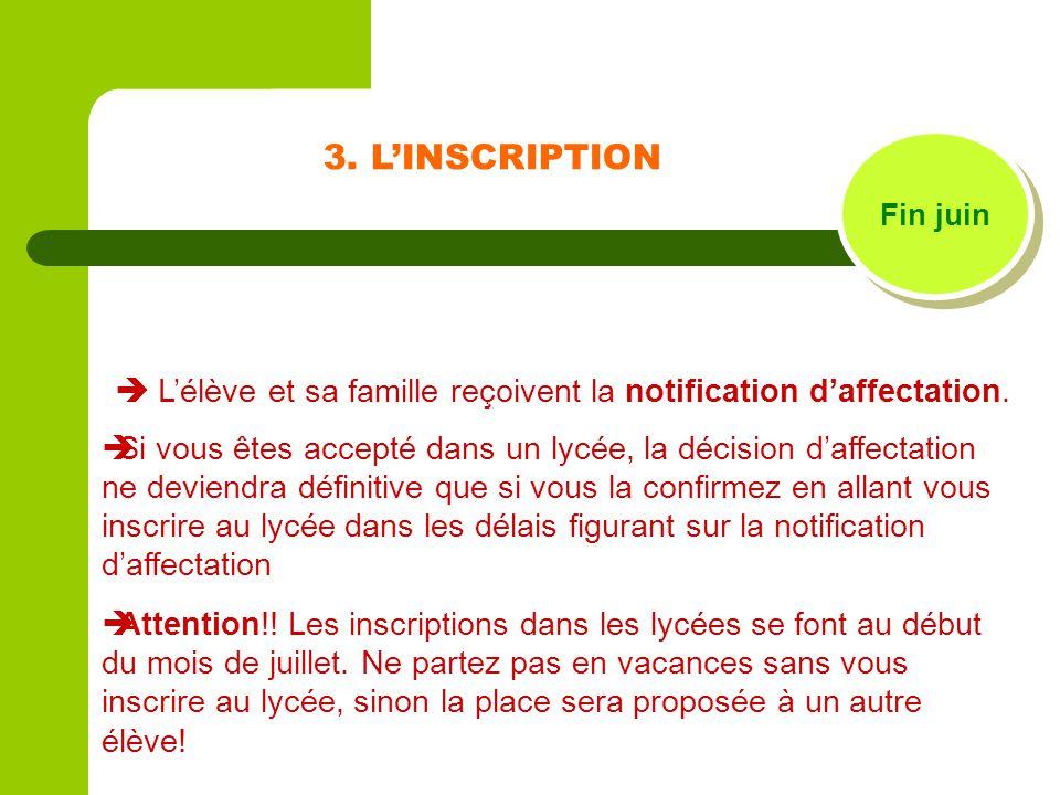 3. LINSCRIPTION Fin juin Lélève et sa famille reçoivent la notification daffectation. Si vous êtes accepté dans un lycée, la décision daffectation ne