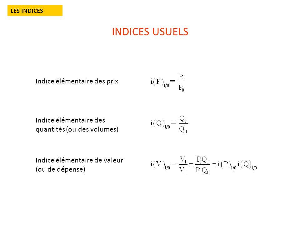 INDICES USUELS LES INDICES Indice élémentaire des prix Indice élémentaire des quantités (ou des volumes) Indice élémentaire de valeur (ou de dépense)