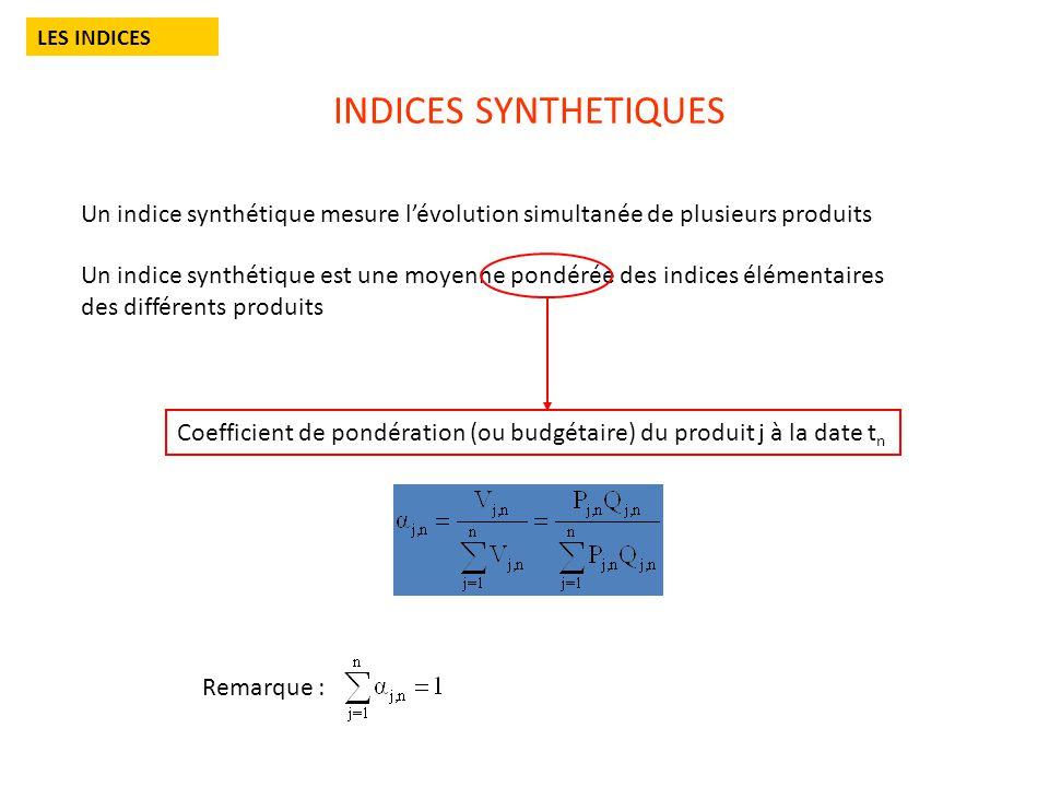 INDICES SYNTHETIQUES LES INDICES Un indice synthétique mesure lévolution simultanée de plusieurs produits Un indice synthétique est une moyenne pondérée des indices élémentaires des différents produits Remarque : Coefficient de pondération (ou budgétaire) du produit j à la date t n