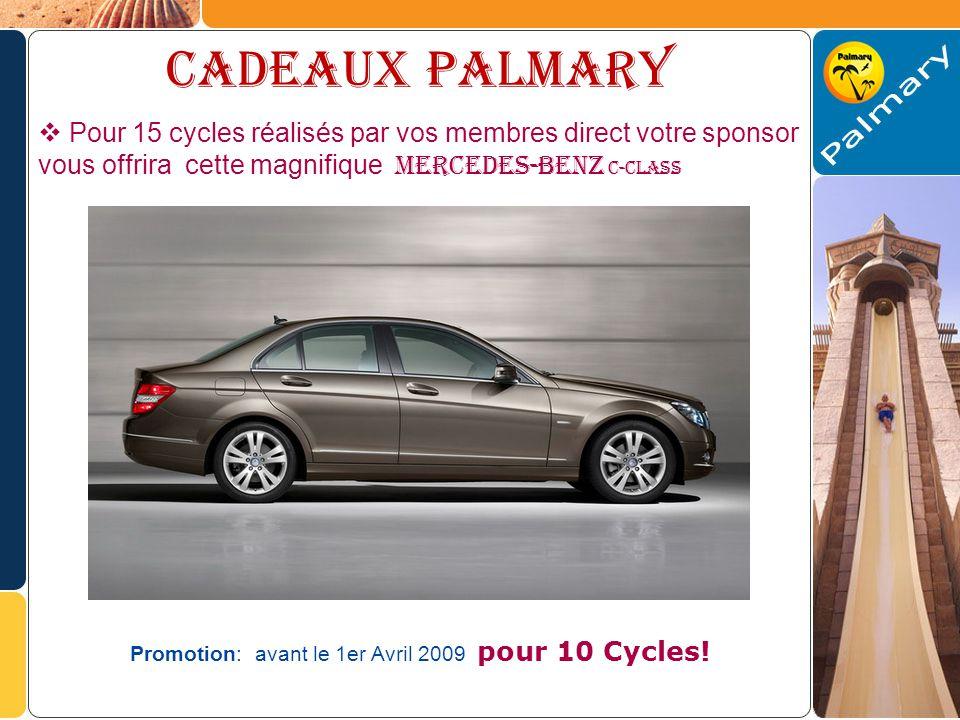 Cadeaux palmary Pour 15 cycles réalisés par vos membres direct votre sponsor vous offrira cette magnifique MERCEDES-BENZ C-CLASS Promotion: avant le 1er Avril 2009 pour 10 Cycles!
