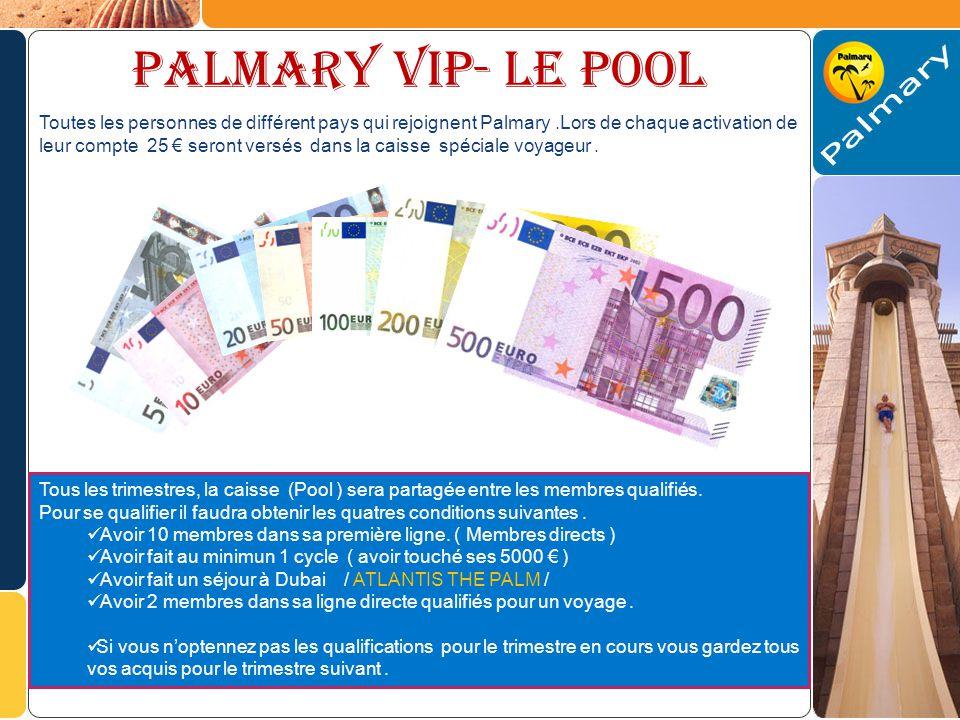 PALMARY VIP- Le pool Toutes les personnes de différent pays qui rejoignent Palmary.Lors de chaque activation de leur compte 25 seront versés dans la caisse spéciale voyageur.