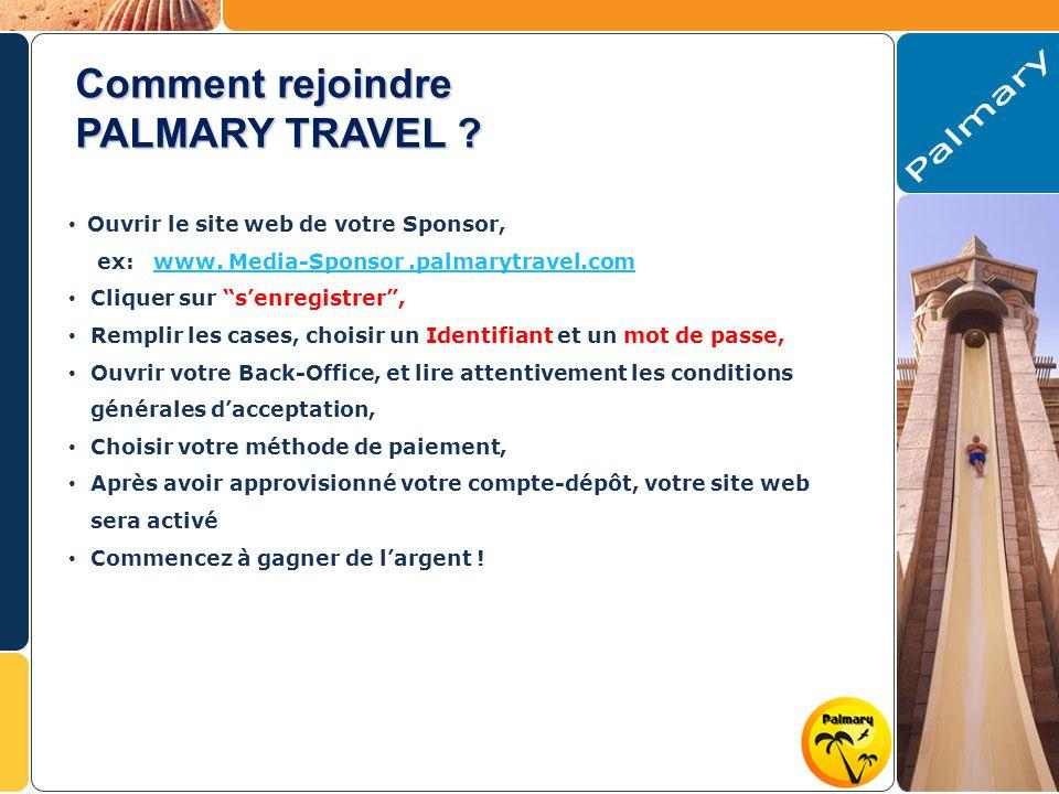 Comment rejoindre PALMARY TRAVEL . Ouvrir le site web de votre Sponsor, ex: www.