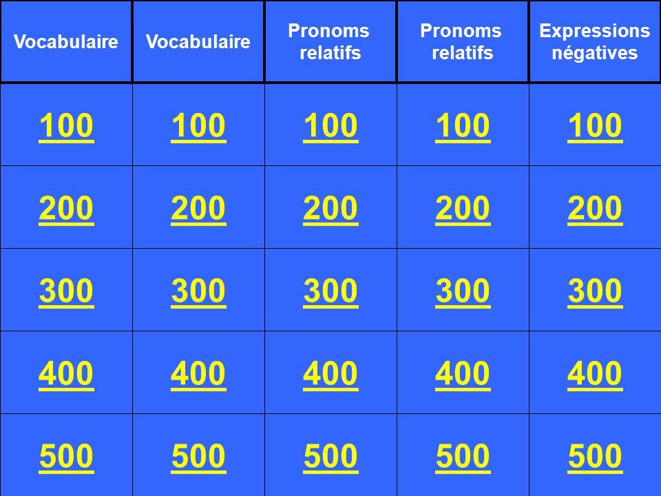 200 300 400 500 100 200 300 400 500 100 200 300 400 500 100 200 300 400 500 100 200 300 400 500 100 Vocabulaire Pronoms relatifs Pronoms relatifs Expressions négatives