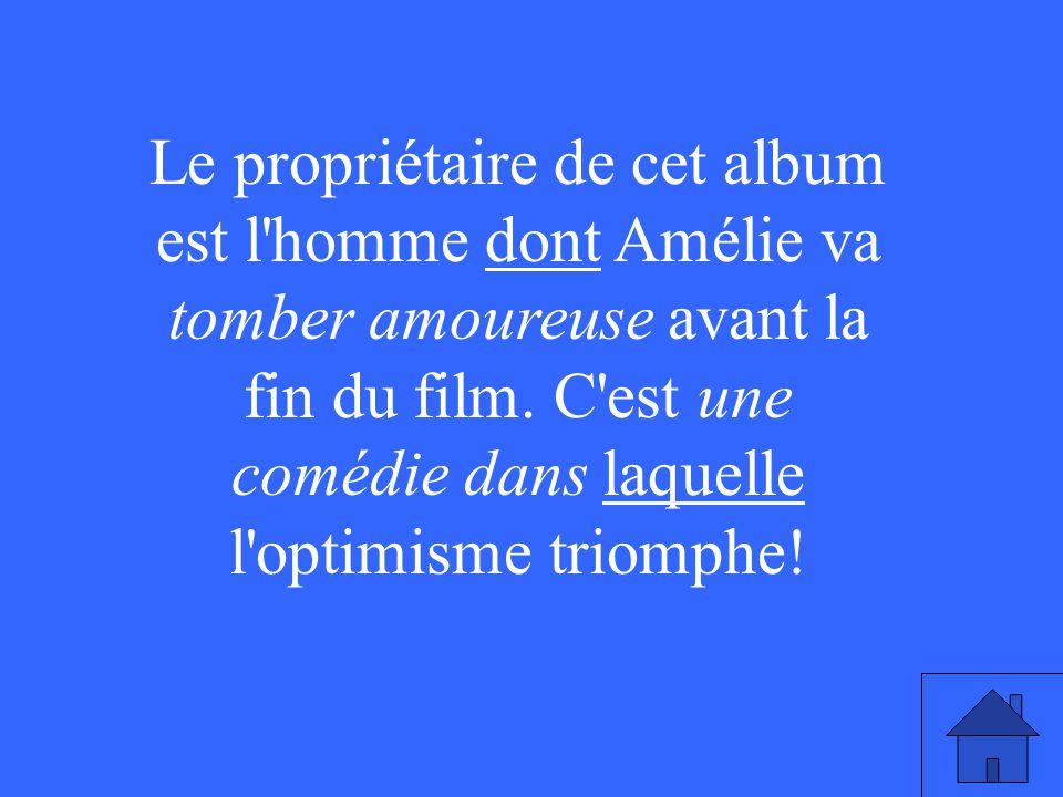 Le propriétaire de cet album est l homme dont Amélie va tomber amoureuse avant la fin du film.
