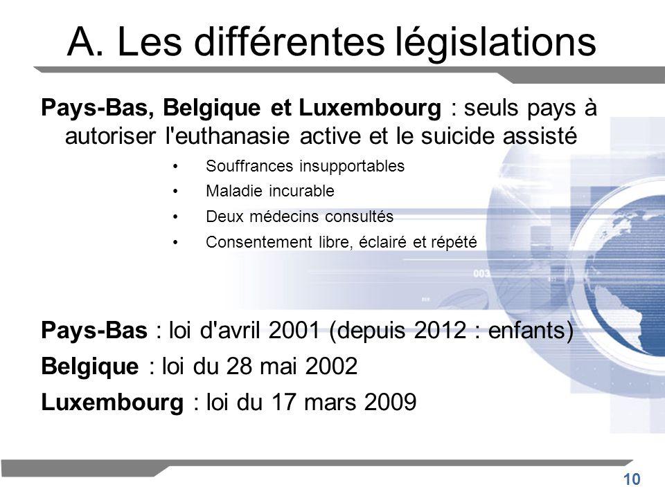 10 A. Les différentes législations Pays-Bas, Belgique et Luxembourg : seuls pays à autoriser l'euthanasie active et le suicide assisté Souffrances ins