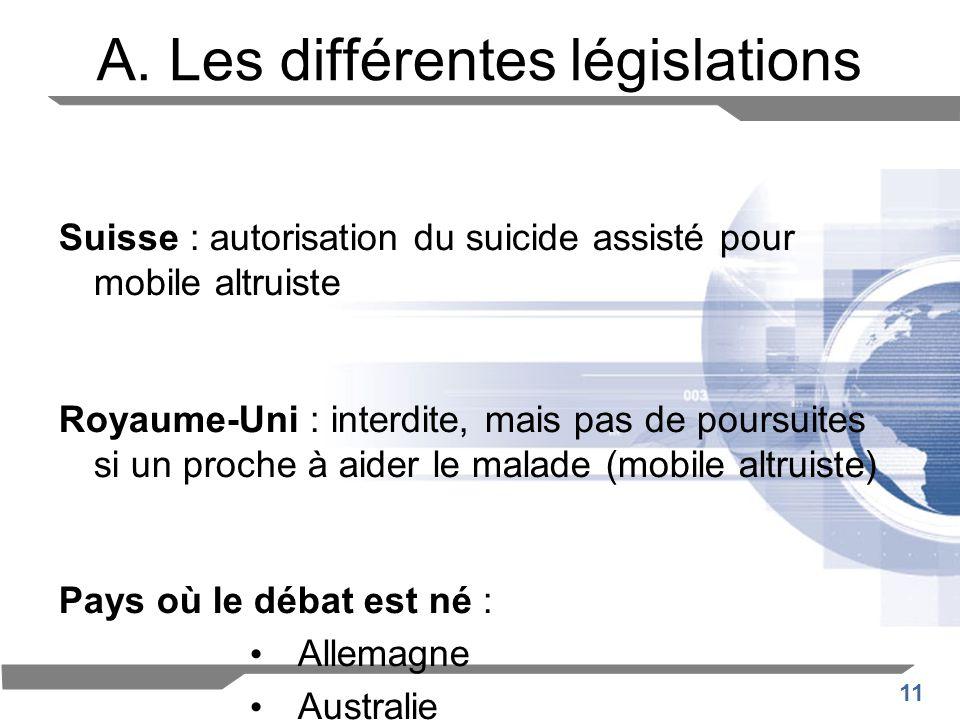 11 A. Les différentes législations Suisse : autorisation du suicide assisté pour mobile altruiste Royaume-Uni : interdite, mais pas de poursuites si u